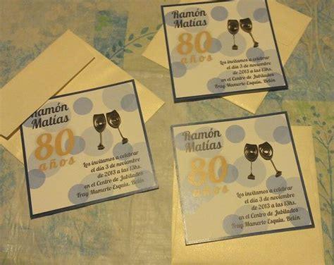 Tarjetas invitación para cumpleaños. 80 años. Filigrana ...