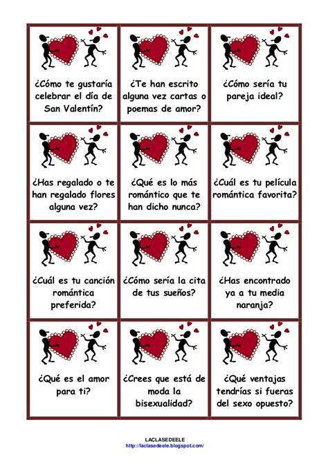 Tarjetas Juego San Valentin