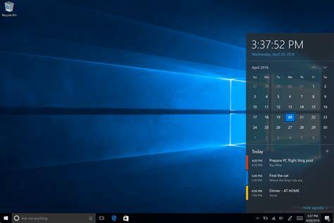 Taskbar clock now integrates with Calendar in Windows 10