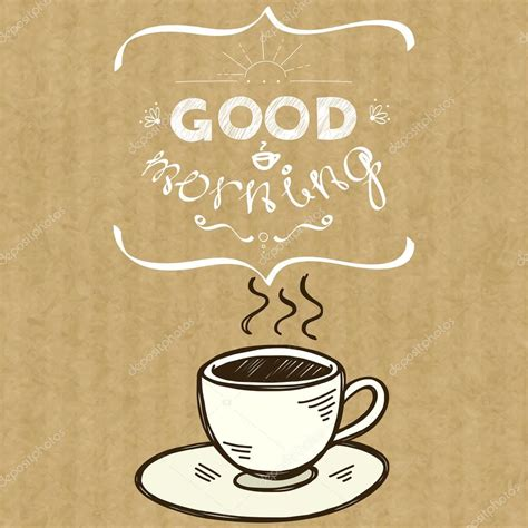 Taza de café y letras Buenos días — Vector de stock ...