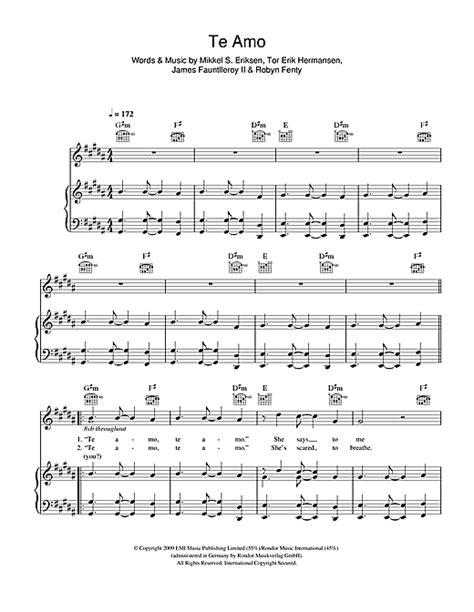 Te Amo sheet music by Rihanna  Piano, Vocal & Guitar ...
