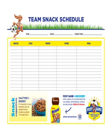 team snack schedule   Evolist.co