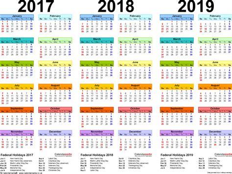 Template 1: PDF template for three year calendar 2017/2018 ...