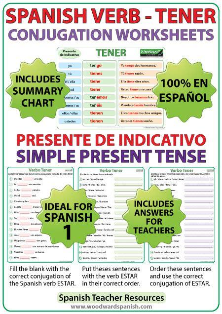 TENER – Spanish Verb Conjugation Worksheets – Present ...