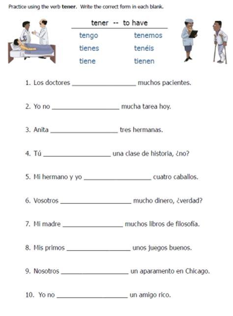 Tener Worksheets – Printable Spanish