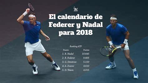 TENIS: Los posibles calendarios de Nadal y Federer en 2018 ...