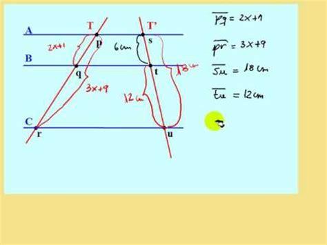 Teorema de Thales, teoría y ejercicio resuelto   YouTube