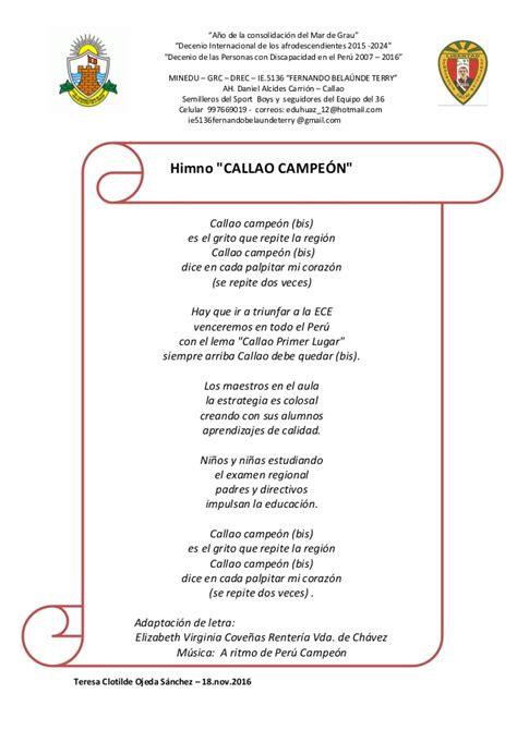 Teresa Clotilde Ojeda Sánchez: Letra y música del Himno ...