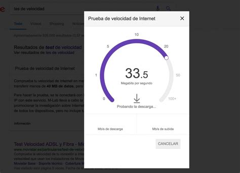 Test de velocidad a Internet de Google