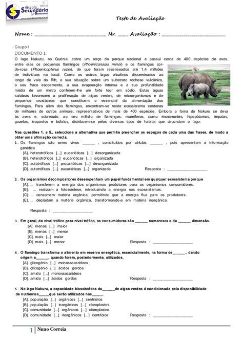Teste de Avaliação nr. 1 (Biologia 10º)