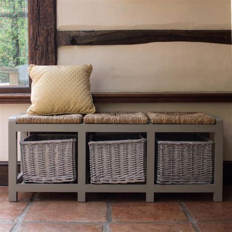 Tetbury White Bench With Storage Baskets Hallway Hanging ...