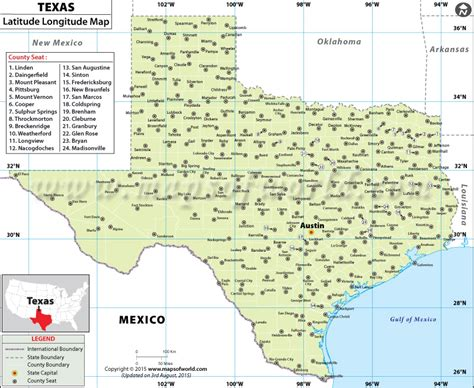 Texas Latitude and Longitude Map
