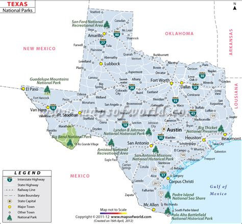 Texas National Parks Map, List of National Parks in Texas