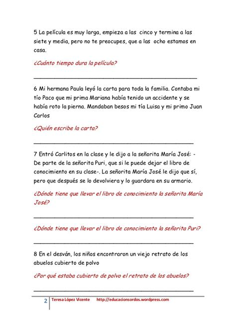 Textos cortos de lectura inferencial 2   comprensión ...