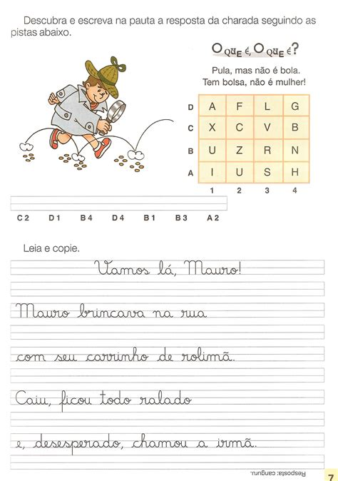 Textos e Atividades de Caligrafia para imprimir - Só Escola