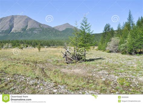 The Broad Valley Between The Mountains. Royalty Free Stock ...