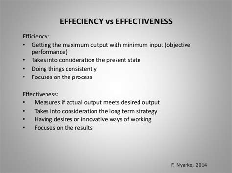 The concept of efficiency and effectiveness