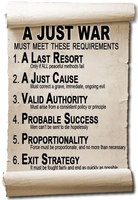 The de-facto definition of Just War, (based on the ...