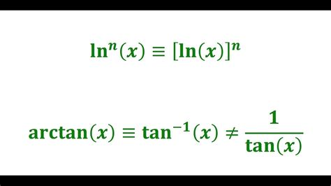 The difference between arctan, tan^  1 , cotangent, and ln ...