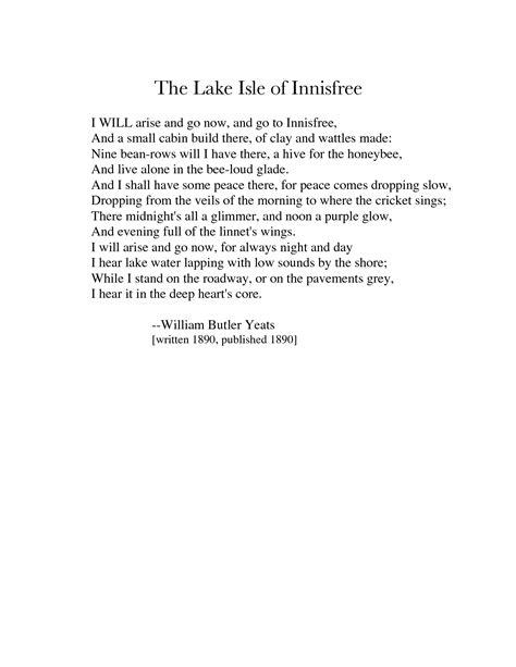 The Lake Isle of Innisfree : William Butler Yeats. http ...