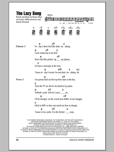 The Lazy Song Sheet Music | Bruno Mars | Ukulele with ...