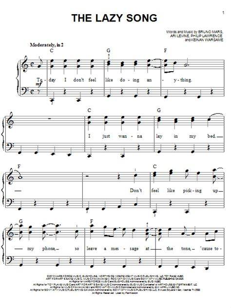 The Lazy Song sheet music by Bruno Mars (Easy Piano – 80514)