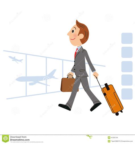 The Man Who Goes On A Business Trip Abroad Stock Vector ...