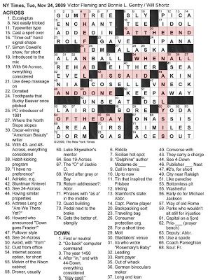 The New York Times Crossword in Gothic: 11.24.09 -- In the ...