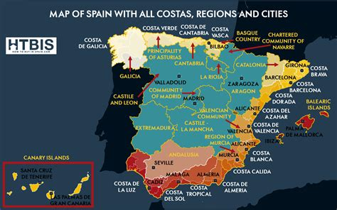 The real Spanish map: Regions, Costas and Cities   How to ...