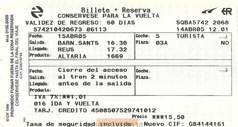 The traveler's drawer: (RENFE). Billete ida y vuelta ...
