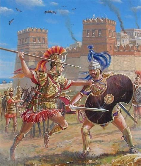 The Trojan War. Achilles vs Hector outside the walls of ...