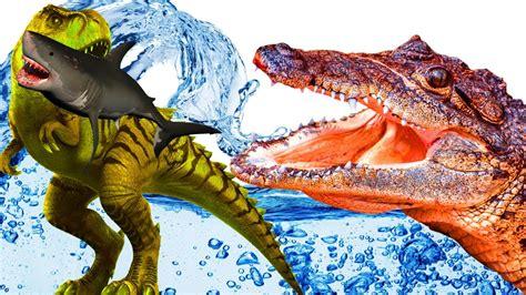 tiburón vs dinosaurios cocodrilo dibujos animados para ...