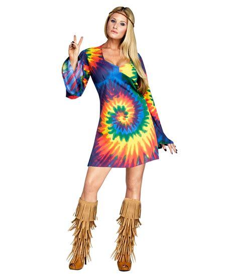 Tie Dye Hippie Dress Womens Costume   Hippie costumes