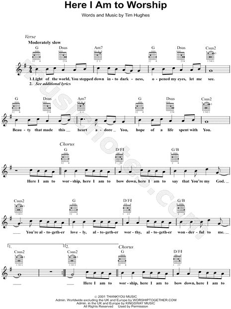 Tim Hughes  Here I Am to Worship  Sheet Music in G Major ...