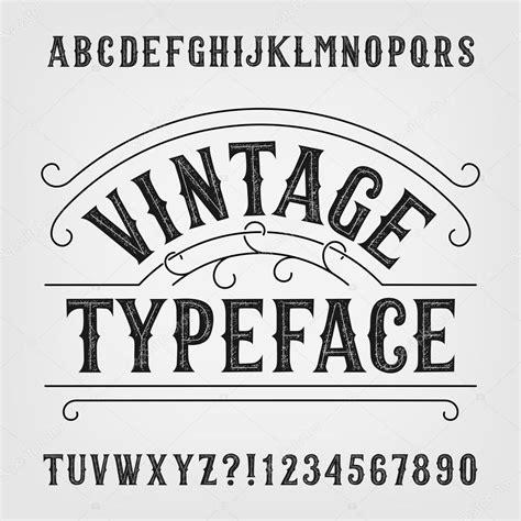 Tipografía vintage. Fuente de vector alfabeto apenado ...