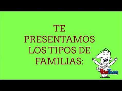 tipos de familias para niños - YouTube