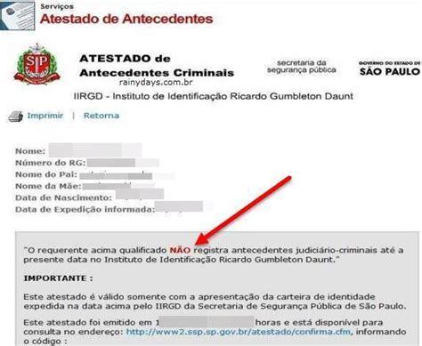 Tirar atestado de antecedentes criminais online   Certidão ...
