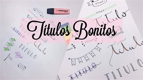 TÍTULOS PARA DECORAR O CADERNO! - YouTube