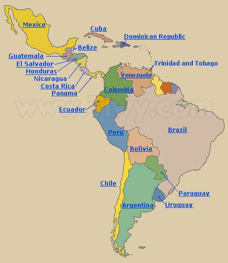 Tiwy.com   Countries of Latin America: Map of Latin America