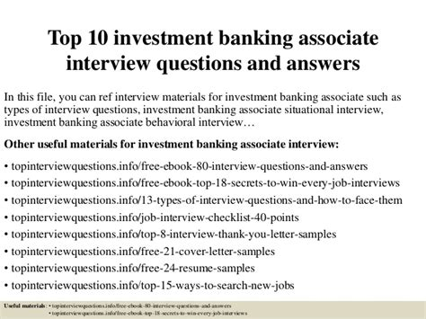 Top 10 investment banking associate interview questions ...
