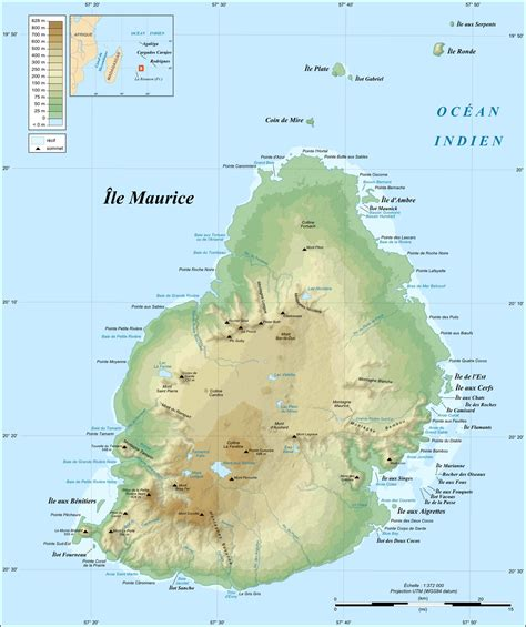 Topographic Map of Mauritius - Mauritius Attractions