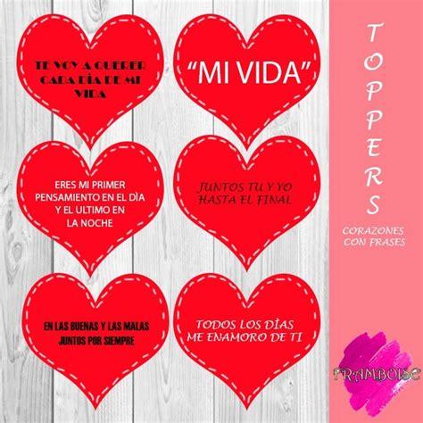 Toppers Corazones Con Frases Para San Valentin O ...