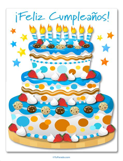 Torta de cumple celeste, Imágenes de cumpleaños, tarjetas
