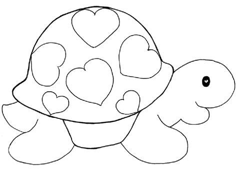 tortuga con corazones para san valentin paracolorear y ...