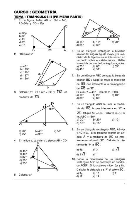 Triangulos - Geometria - Ejercicios - Docsity