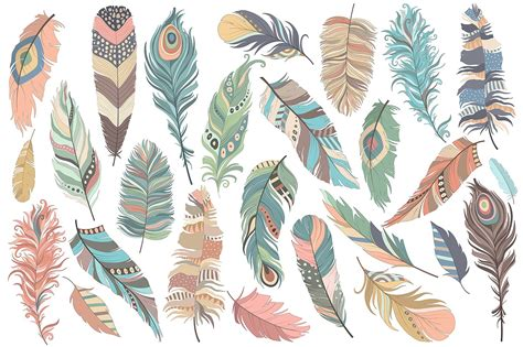 Tribal Feathers Vector PNG & JPG Set ~ Illustrations ...