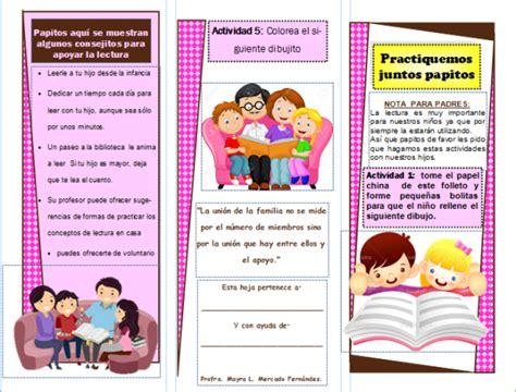 Triptico para ´padres de familia sobre lectoescritura ...