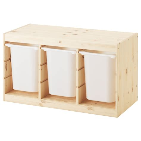TROFAST Storage combination with boxes Light white stained ...