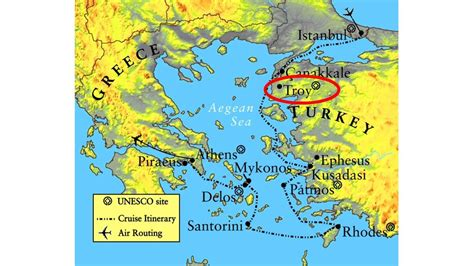 Troy Greece map   Map of Greece Troy  Southern Europe ...