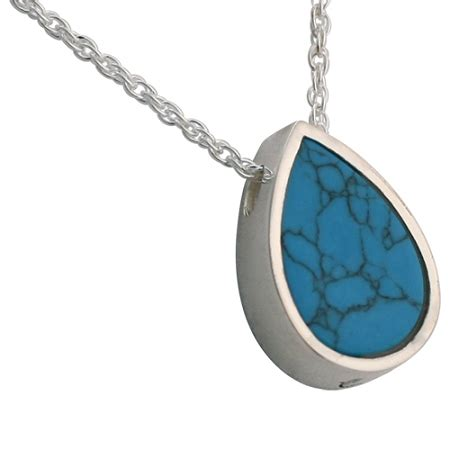Turquoise Teardrop Slider Pendant and Necklace for Ashes ...